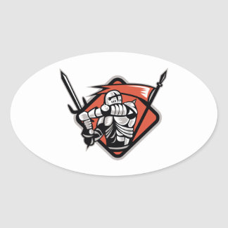 Knight Crusader With Sword Flag Retro Oval Sticker