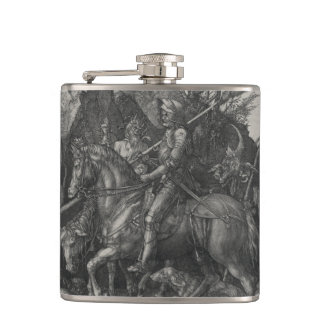 Knight, Death and the Devil by Albrecht Durer Hip Flask
