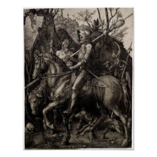 Knight, Death and the Devil by Albrecht Durer Poster