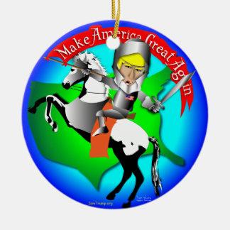 Knight Donald Trump Round Ceramic Ornament