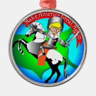 Knight Donald Trump Silver-Colored Round Ornament