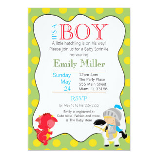Knight Dragon Baby Boy Shower Invitation