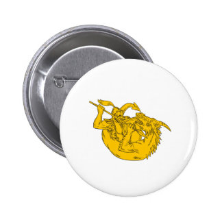 Knight Fighting Dragon Spear Drawing 2 Inch Round Button