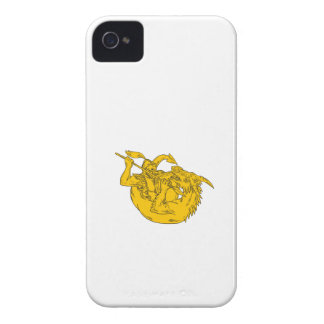 Knight Fighting Dragon Spear Drawing Case-Mate iPhone 4 Case