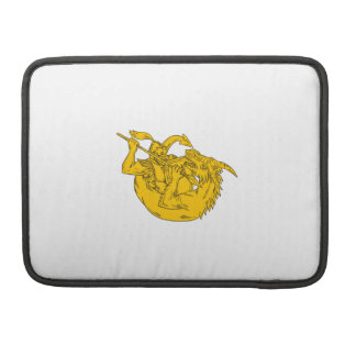 Knight Fighting Dragon Spear Drawing Sleeve For MacBook Pro