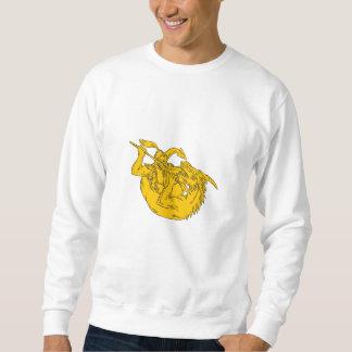 Knight Fighting Dragon Spear Drawing Sweatshirt