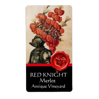 KNIGHT HELMET WITH RED FEATHERS AND WAX SEAL Wine Shipping Label