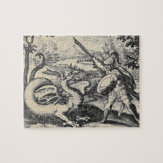 Knight in Armor Slaying the Dragon Jigsaw Puzzle