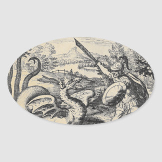 Knight in Armor Slaying the Dragon Oval Sticker
