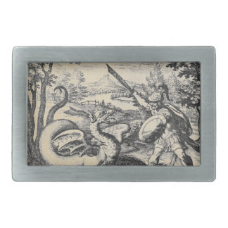 Knight in Armor Slaying the Dragon Rectangular Belt Buckles