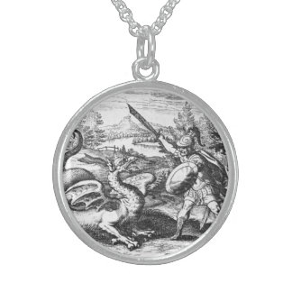 Knight in Armor Slaying the Dragon Sterling Silver Necklace