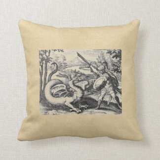 Knight in Armor Slaying the Dragon Throw Pillow