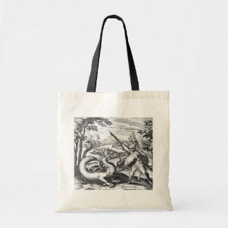 Knight in Armor Slaying the Dragon Tote Bag