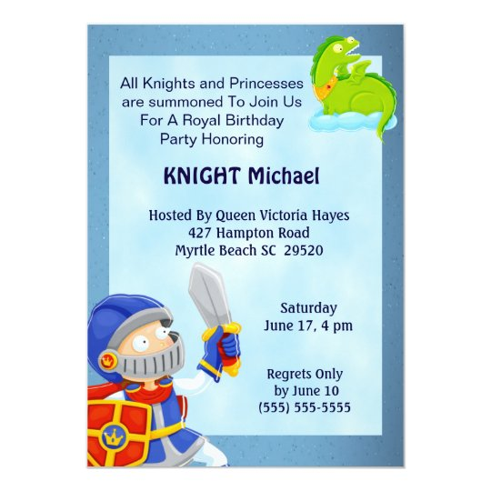 Knight In Armour Birthday Invitation