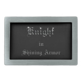 Knight in Shining Armor on Black Rectangular Belt Buckle