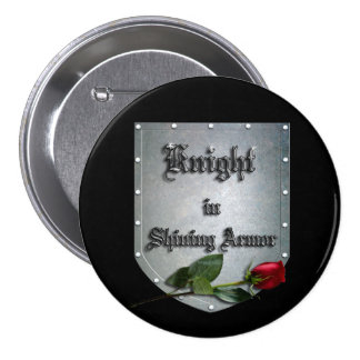Knight in Shining Armor Red Rose 3 Inch Round Button