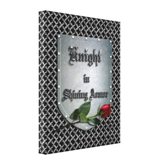 Knight in Shining Armor Shield Rose Canvas Print