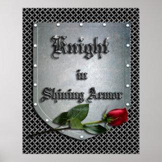Knight in Shining Armor Shield Rose Poster