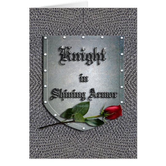 Knight in Shining Armour Red Rose Card