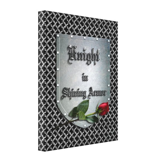 Knight in Shining Armour Shield Rose Canvas Print