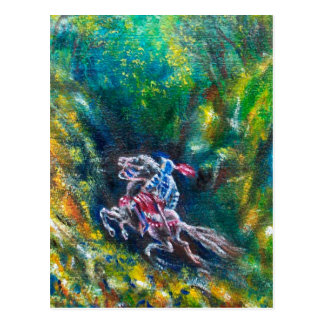 KNIGHT LANCELOT ,HORSE RIDING IN GREEN FOREST POSTCARD