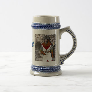 Knight Medieval Warrior - with YOUR Photo - Text - Beer Stein