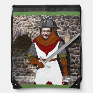 Knight Medieval Warrior - with YOUR Photo - Text - Drawstring Bag