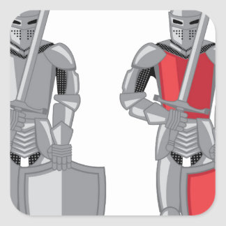 Knight metal red vector square sticker