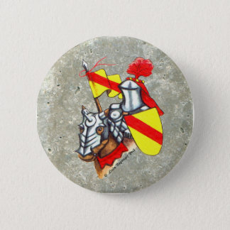 Knight on Horse Red Yellow Art 2 Inch Round Button