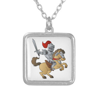 Knight on Horse Silver Plated Necklace