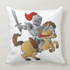 Knight on Horse Throw Pillow