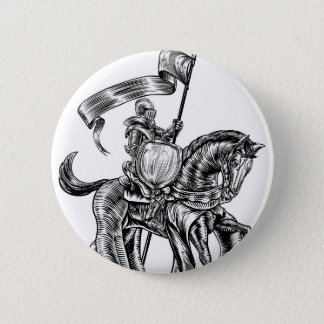 Knight on Horse Vintage Woodcut Engraving 2 Inch Round Button