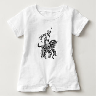 Knight on Horse Vintage Woodcut Engraving Baby Romper
