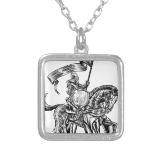 Knight on Horse Vintage Woodcut Engraving Silver Plated Necklace