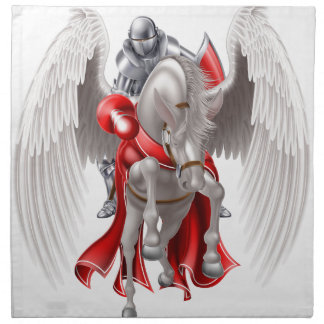 Knight on Pegasus Horse Napkin