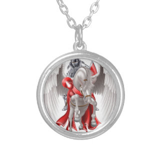 Knight on Pegasus Horse Silver Plated Necklace