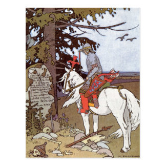 Knight on White Horse Postcard
