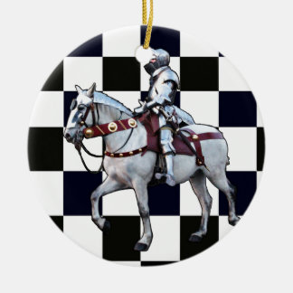 Knight on white horse with Chess board Ceramic Ornament
