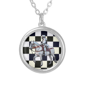 Knight on white horse with Chess board Silver Plated Necklace