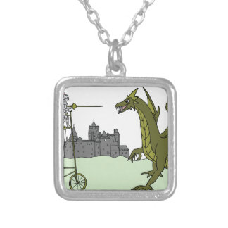 Knight Riding A Tall Bike Slaying A Dragon Silver Plated Necklace