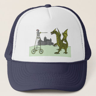 Knight Riding A Tall Bike Slaying A Dragon Trucker Hat