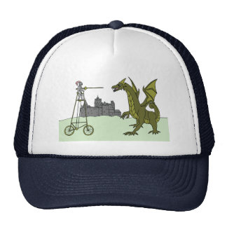 Knight Riding A Tall Bike Slaying A Dragon Trucker Hat