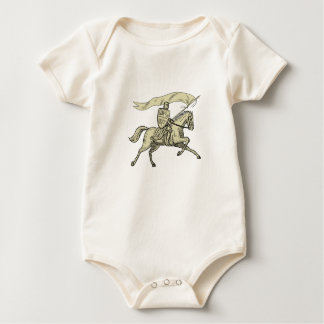 Knight Riding Horse Shield Lance Flag Drawing Baby Bodysuit