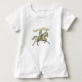 Knight Riding Horse Shield Lance Flag Drawing Baby Romper