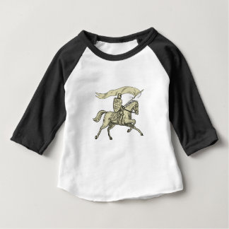 Knight Riding Horse Shield Lance Flag Drawing Baby T-Shirt