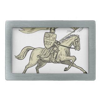 Knight Riding Horse Shield Lance Flag Drawing Belt Buckles