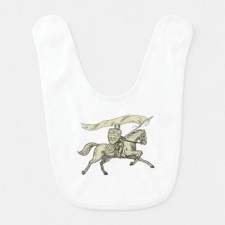 Knight Riding Horse Shield Lance Flag Drawing Bib