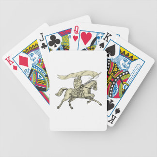 Knight Riding Horse Shield Lance Flag Drawing Bicycle Playing Cards