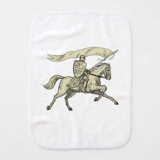 Knight Riding Horse Shield Lance Flag Drawing Burp Cloth