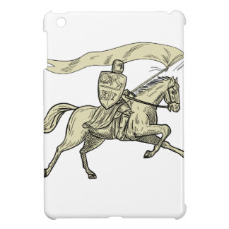 Knight Riding Horse Shield Lance Flag Drawing Case For The iPad Mini
